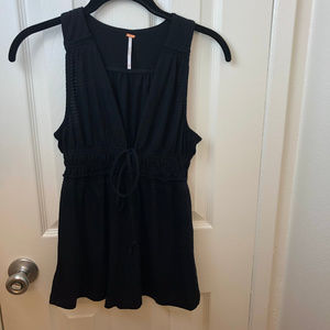 Free People Deep V Neck Sleeveless Black Top